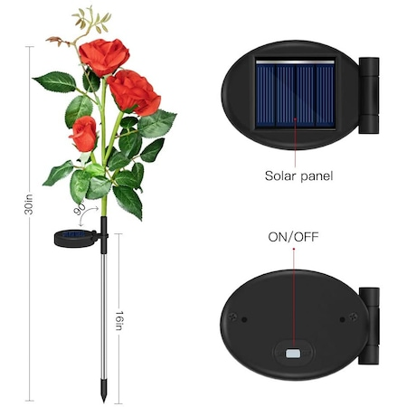 Lumina solara LED de tip trandafir rosu pentru exterior, gradina, curte, gazon, rezistenta la apa