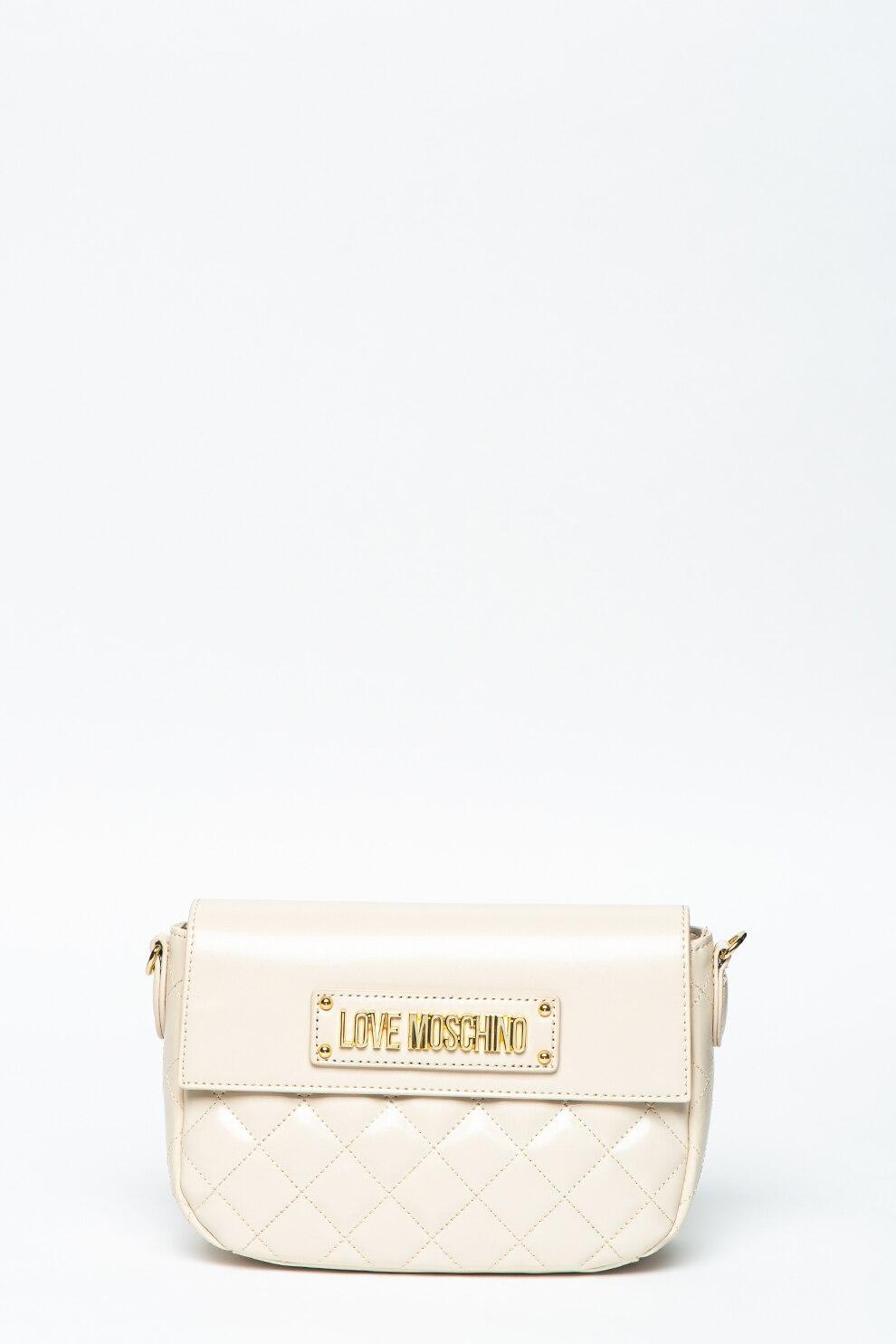 Fotografie Love Moschino, Geanta crossbody de piele ecologica cu aspect matlasat, Alb fildes