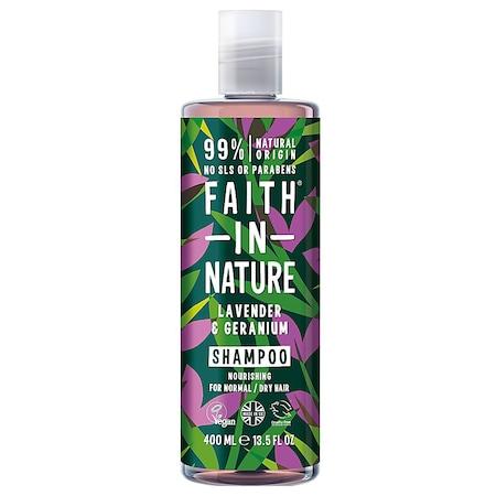 Sampon natural nutritiv Faith in Nature cu lavanda si muscata pentru par normal si uscat, 400 ml