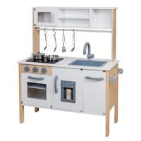 Ökológiai fakonyha gyerekeknek, TimeTrade, 90x30x72 cm, mikrohullámú sütő, mosogató, hűtőszekrény, főzőlap, sütő, tartozékokkal, fehér