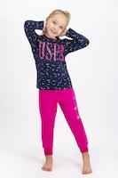 U.S. Polo Assn., Памучна пижама с щампа, Тъмносин / Фуксия, 134-140 CM Standard