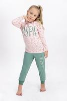U.S. Polo Assn., Десенирана памучна пижама, Пастелнорозов / Зелен / Бял, 164-170 CM Standard