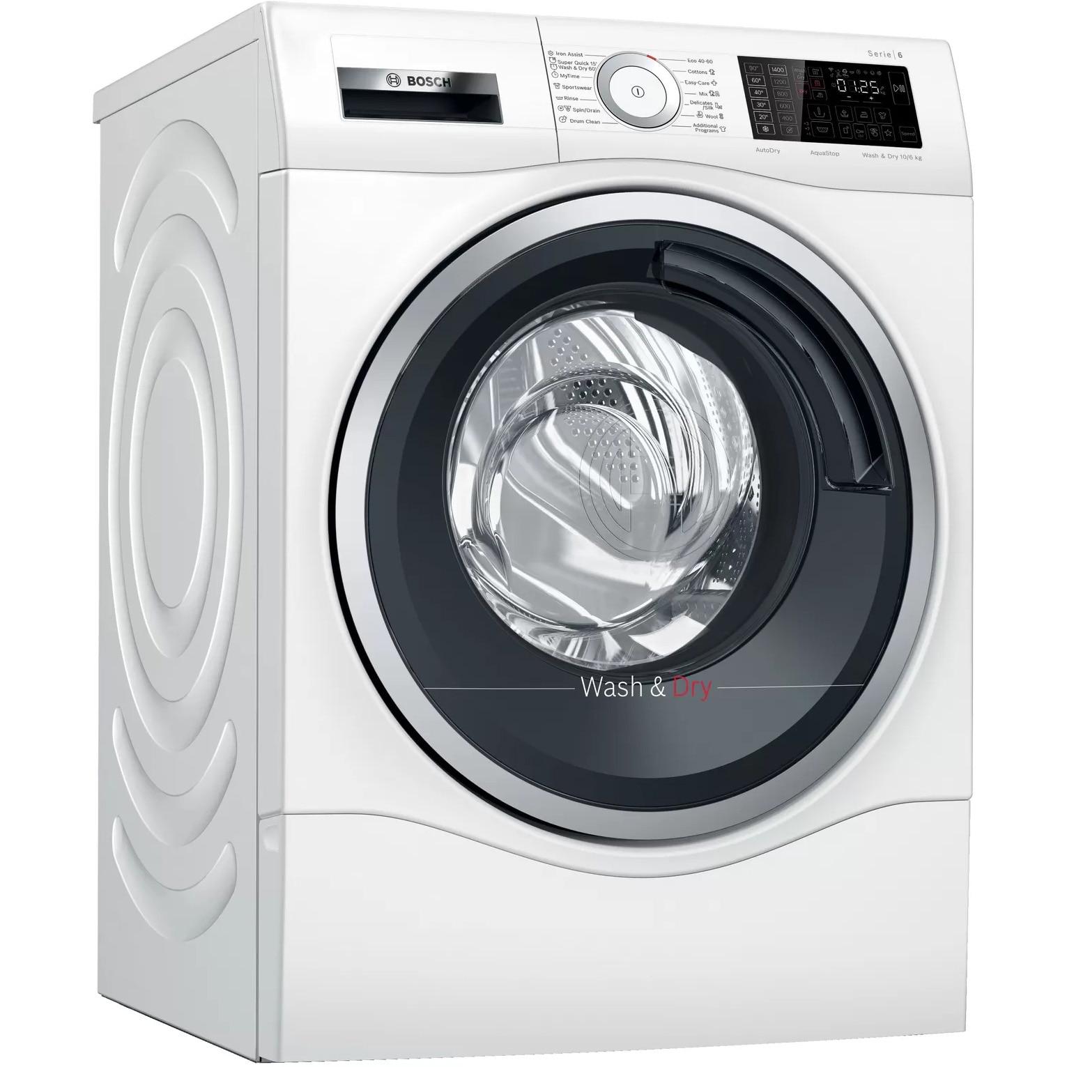 Fotografie Masina de spalat rufe cu uscator Bosch WDU8H541EU, 10 kg spalare, 6 kg uscare, 1400 RPM, Clasa C, EcoSilence Drive, AutoDry, ActiveWater, Alb