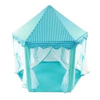 Játszó sátor, fiúknak, hatszögletű alap, piramis alakú tető, 6 bejárat függönnyel, kék