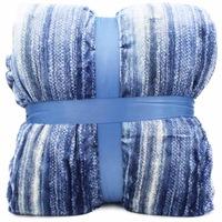 Vastag szőrmés ágytakaró Kék csíkokkal - 200x230cm