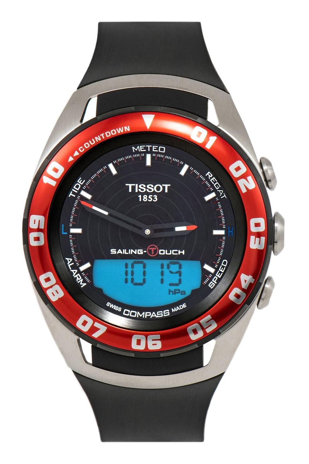Fotografie Tissot, Ceas analog-digital cu o curea de silicon T-Touch, Negru/argintiu/rosu