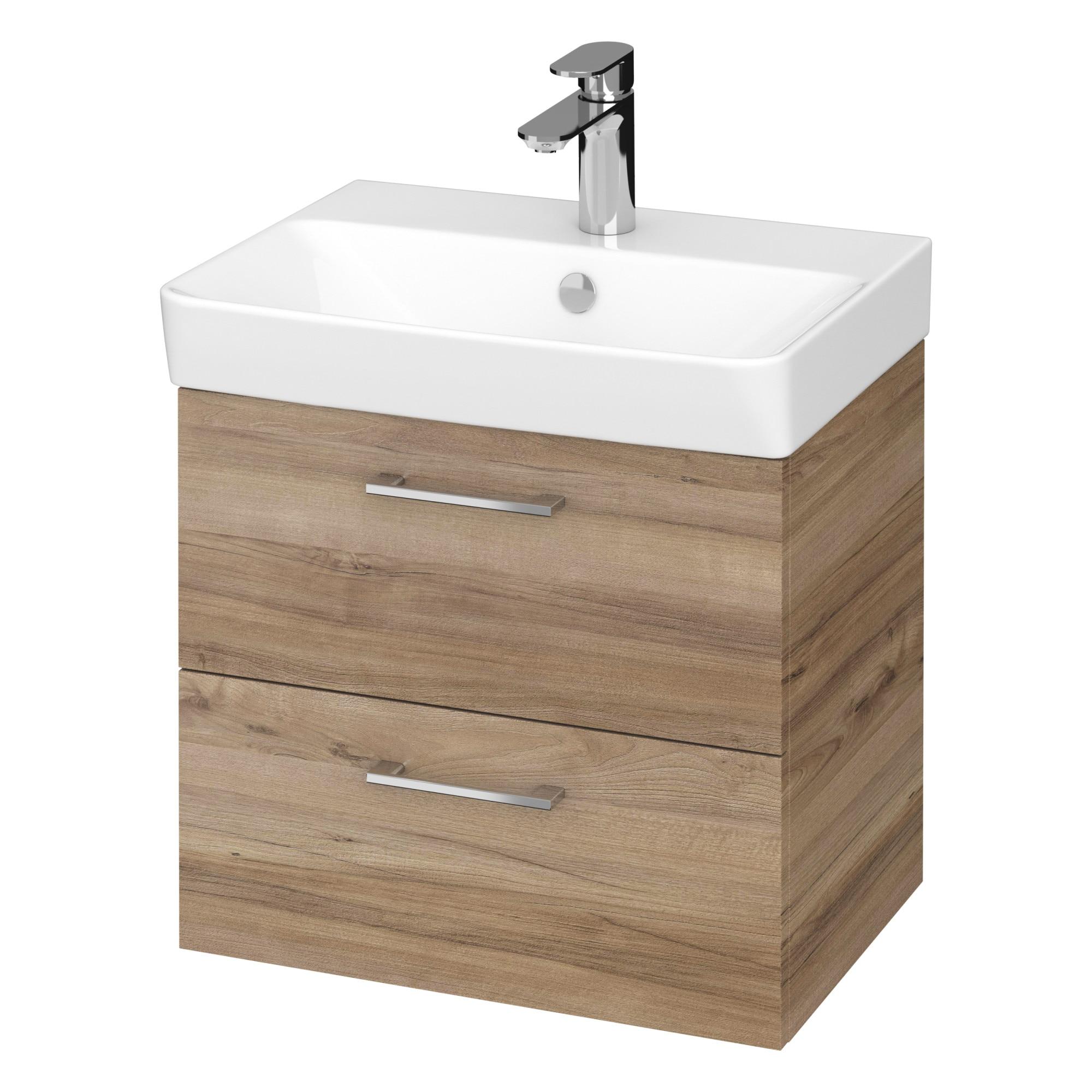 Fotografie Set baza mobilier Cersanit Lara Slim 50 + Lavoar Cersanit Mille Slim 50, PAL lacuit, 2 sertare, inchidere lenta, 49.4x34.7x46 cm, Nuc
