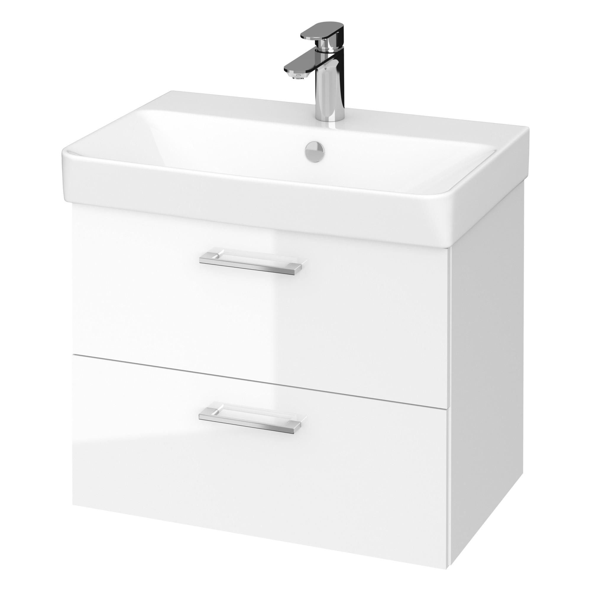 Fotografie Set baza mobilier Cersanit Lara Slim 60 + Lavoar Cersanit Mille Slim 60, PAL lacuit, 2 sertare, inchidere lenta, 59.4x37.5x46 cm, Alb
