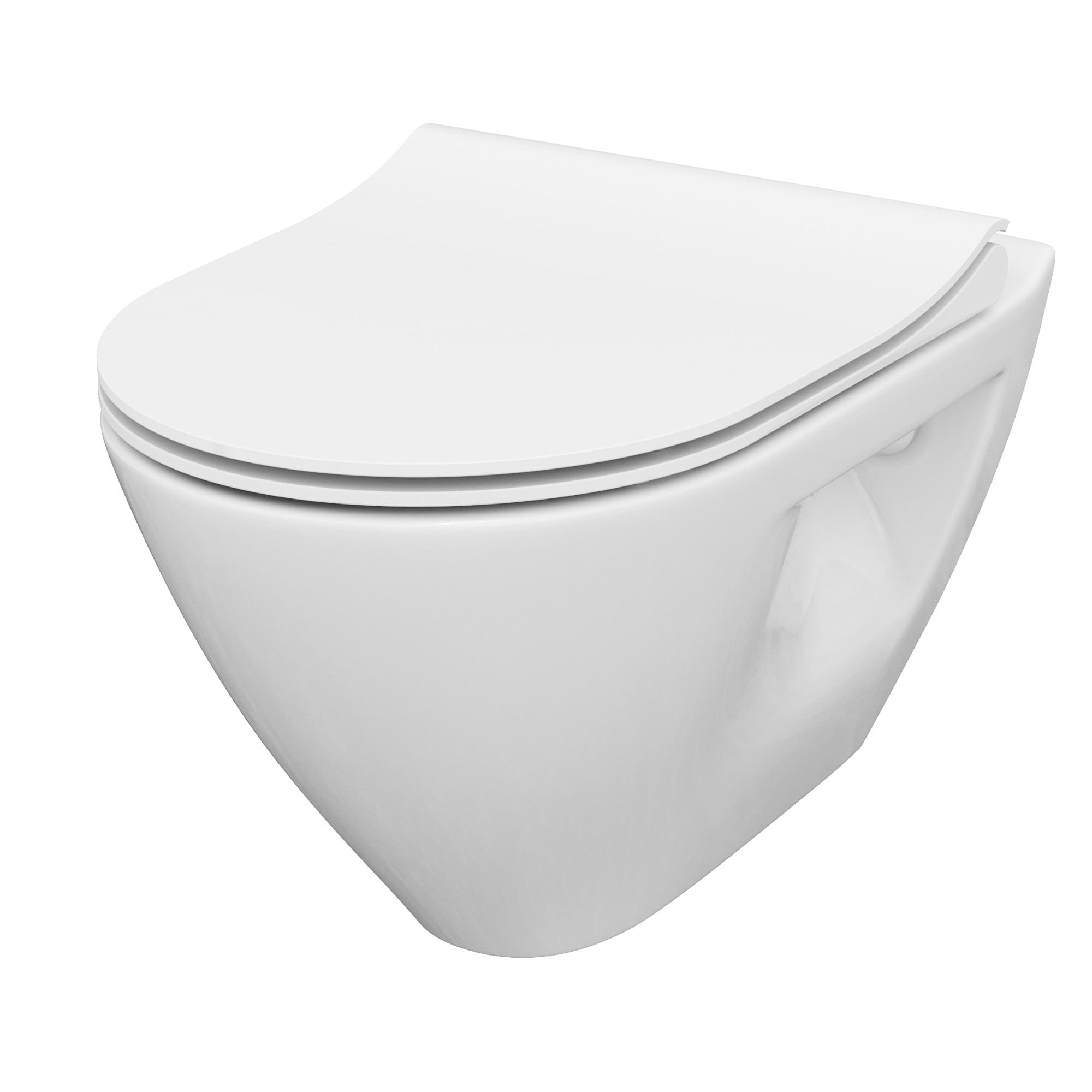Fotografie Set WC suspendat Cersanit Mille Plus, CleanOn, capac duroplast slim, inchidere lenta, 36x50x36.5 cm, Alb