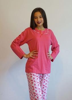 Női pizsama, rózsaszín és fehér M,L