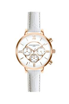 Annie Rosewood, Часовник с хронограф и кожена каишка, Розе/бял