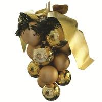 Декоративен коледен грозд за елха, златен,13 см