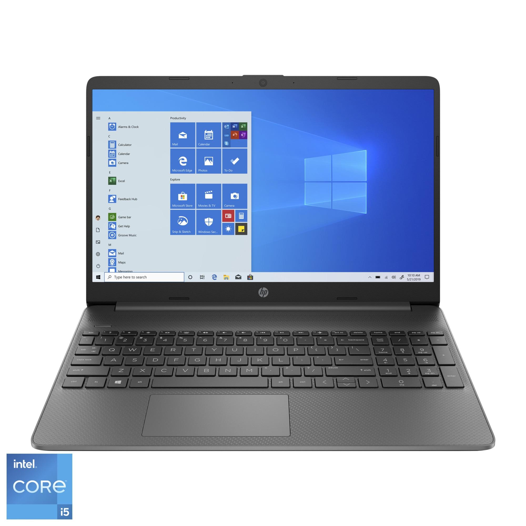 """Fotografie Laptop HP 15s-fq2007nq cu procesor Intel® Core™ i5-1135G7 pana la 4.20 GHz, 15.6"""", Full HD, 8GB, 512GB SSD, Windows 10 Home, Chalkboard Gray"""