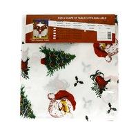 Коледна покривка за маса,бяла с Дядо Коледа ,180/150 см