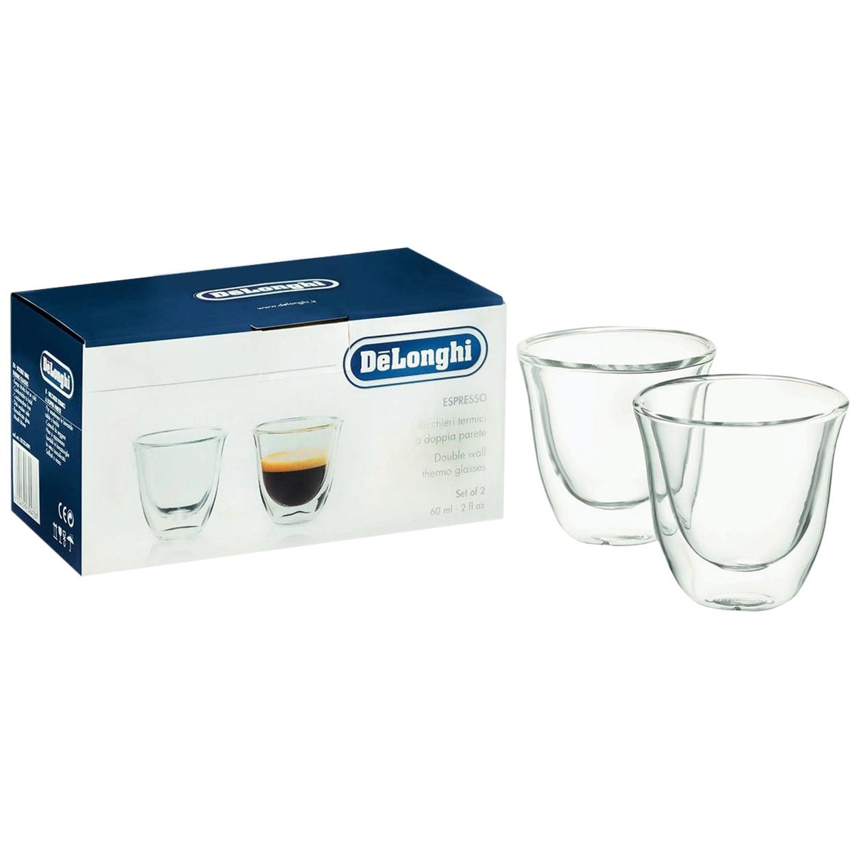 Fotografie Set 2 pahare espresso De'Longhi, 2x60ml, Sticla termorezistenta, Transparente, Perete dublu