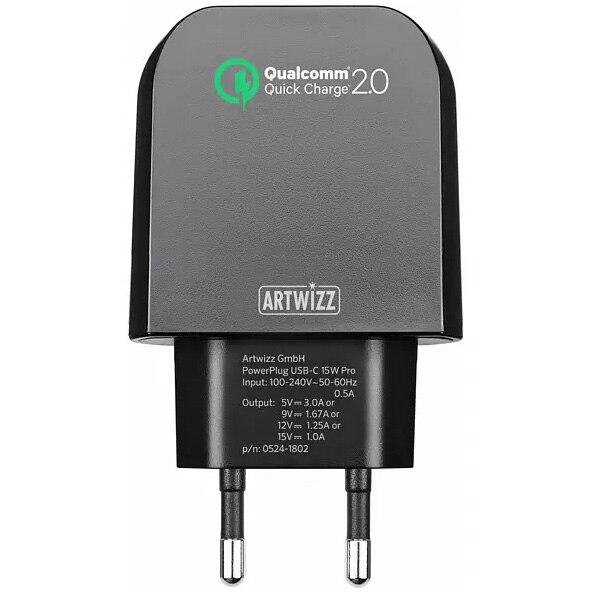 Fotografie Incarcator retea Artwizz, Quickcharge, USB Type C, 15W, Negru