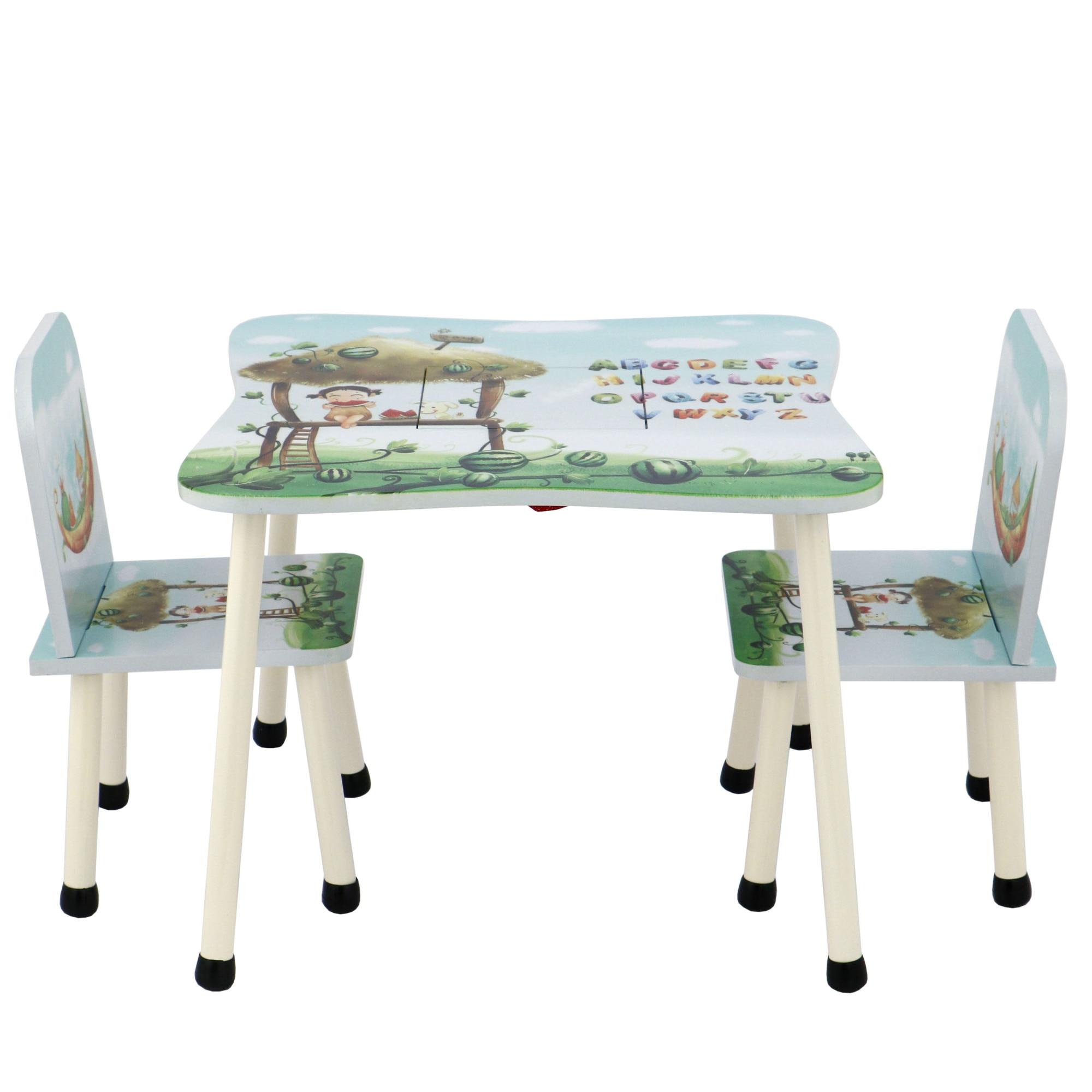 Fotografie Set masuta activitati Mappy Happy, cu 2 scaune, din lemn, Albastru/Verde