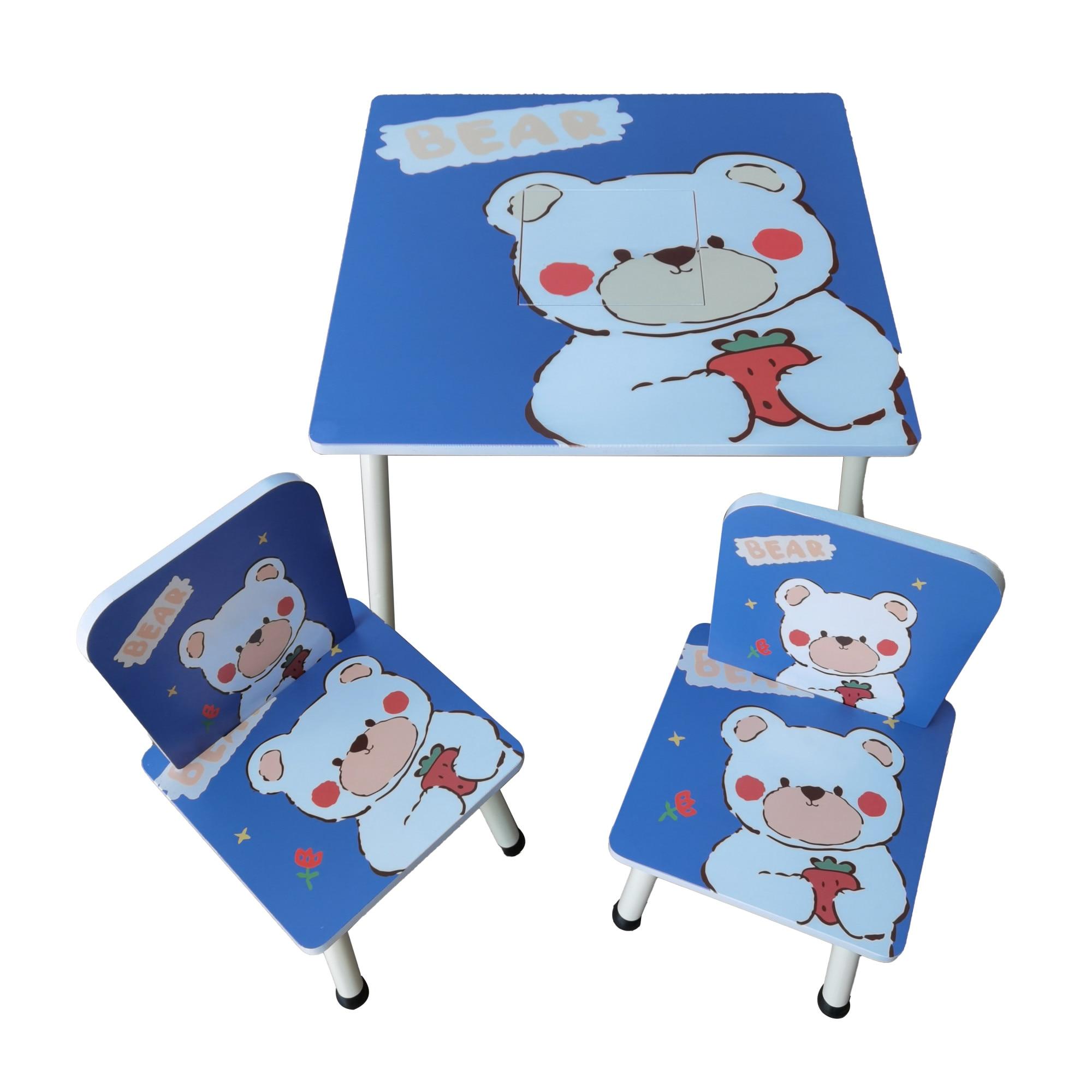 Fotografie Set masuta activitati Mappy Happy, cu 2 scaune, din lemn, Albastru/Alb