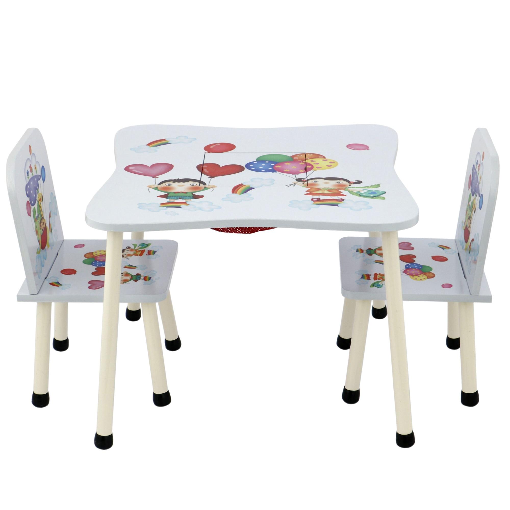 Fotografie Set masuta activitati Mappy Happy, cu 2 scaune, din lemn, Alb/Albastru