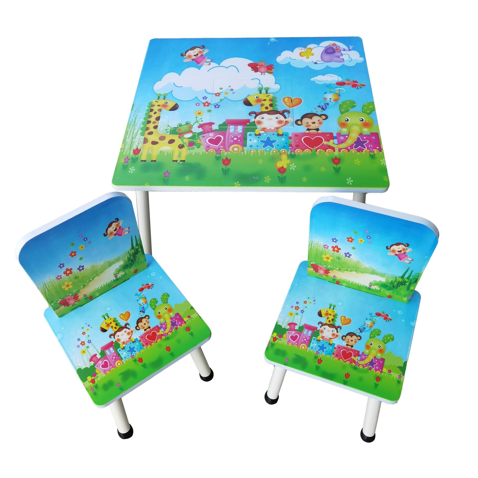 Fotografie Set masuta activitati Mappy Happy, cu 2 scaune, din lemn, Multicolor