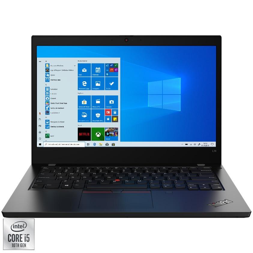 """Fotografie Laptop ultraportabil Lenovo ThinkPad L14 Gen 1 cu procesor Intel Core i5-10210U pana la 4.20 GHz, 14"""", Full HD, 8GB, 256GB SSD, Intel UHD Graphics, Windows 10 Pro, Black"""