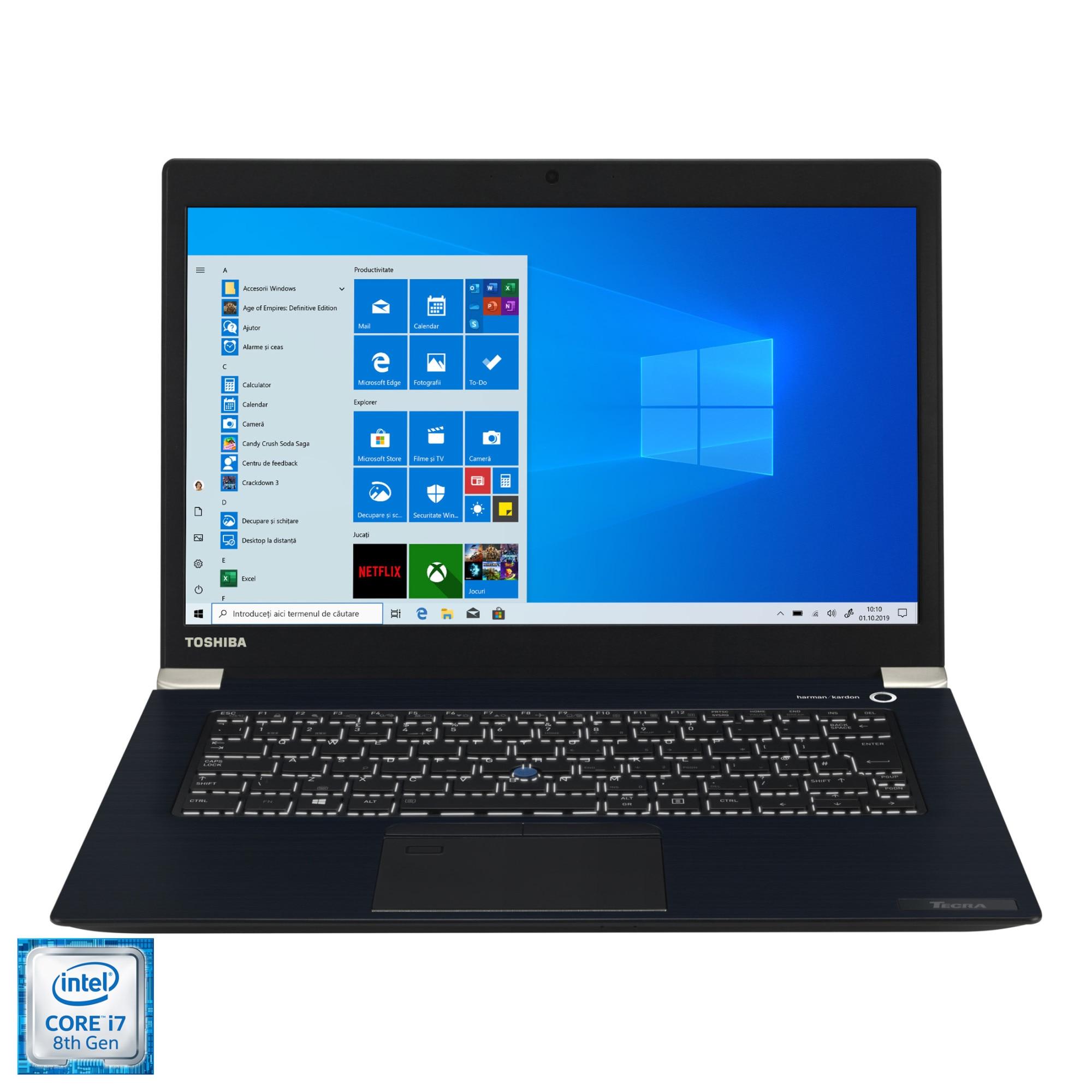 "Fotografie Laptop ultraportabil Toshiba Dynabook Tecra X40-E-1F4 cu procesor Intel Core i7-8550U pana la 4.00 GHz, 14"", Full HD, 16GB, 512 SSD, Intel UHD Graphics, Windows 10 Pro, Black"
