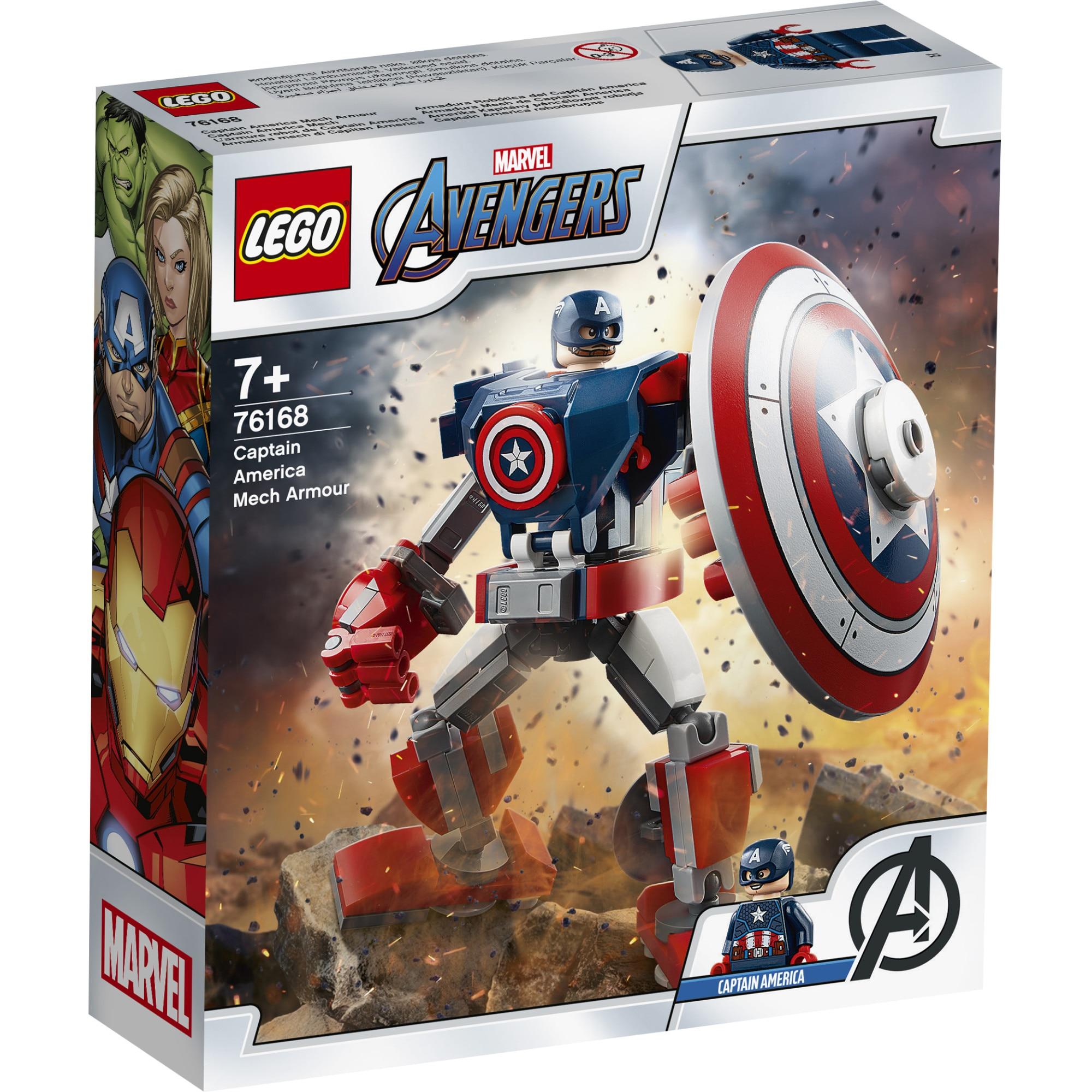 Fotografie LEGO Super Heroes - Armura de robot Capitanul America 76168, 121 piese