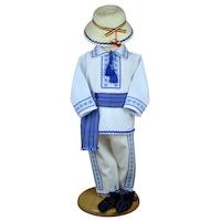Costum popular brodat Stefan ,5 piese,9-12 luni (74-80 cm),alb/albastru