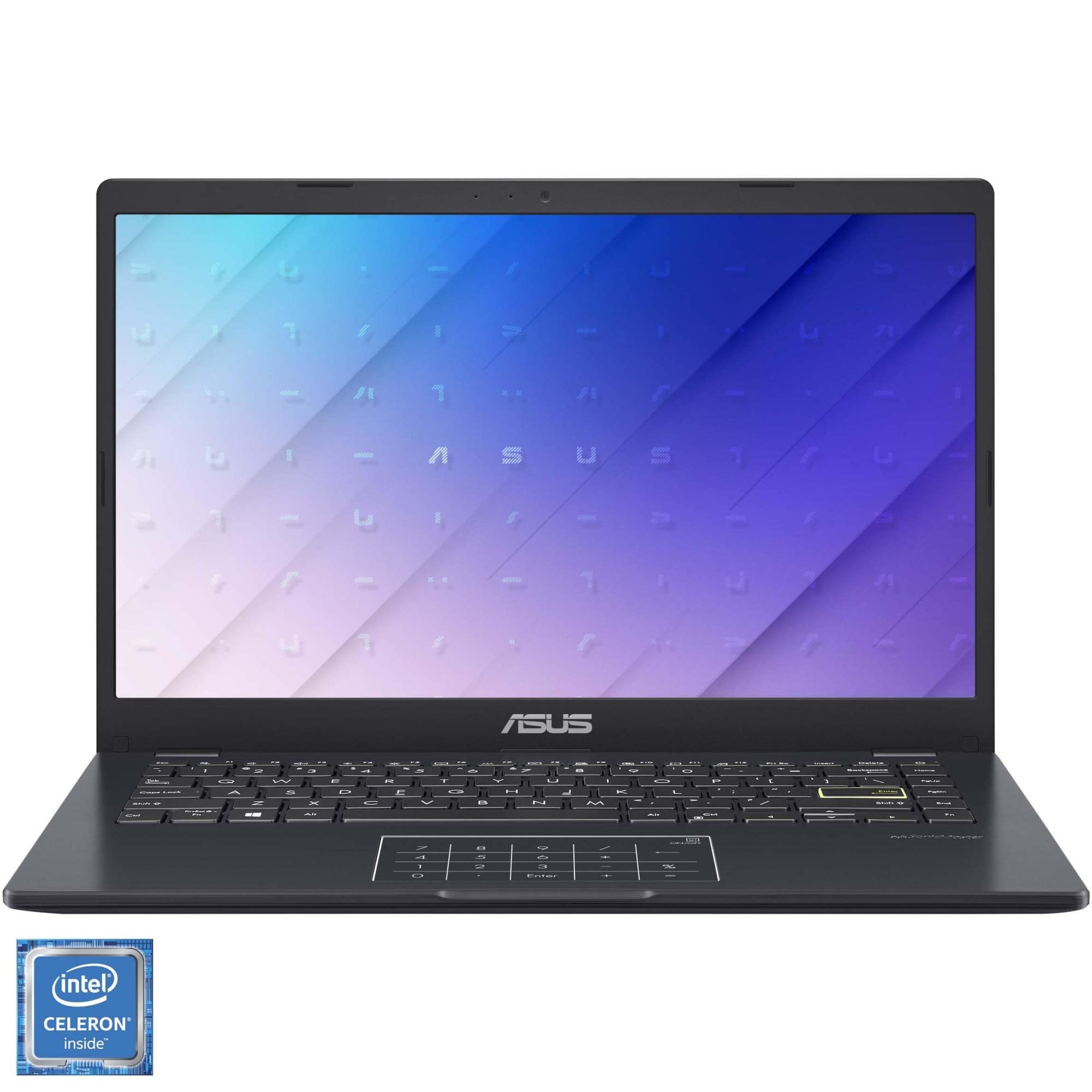 "Fotografie Laptop ASUS E410MA cu procesor Intel Celeron N4020 pana la 2.80 GHz, 14"", Full HD, 4GB, 256GB SSD, Intel® UHD Graphics 600, Free DOS, Peacock Blue"