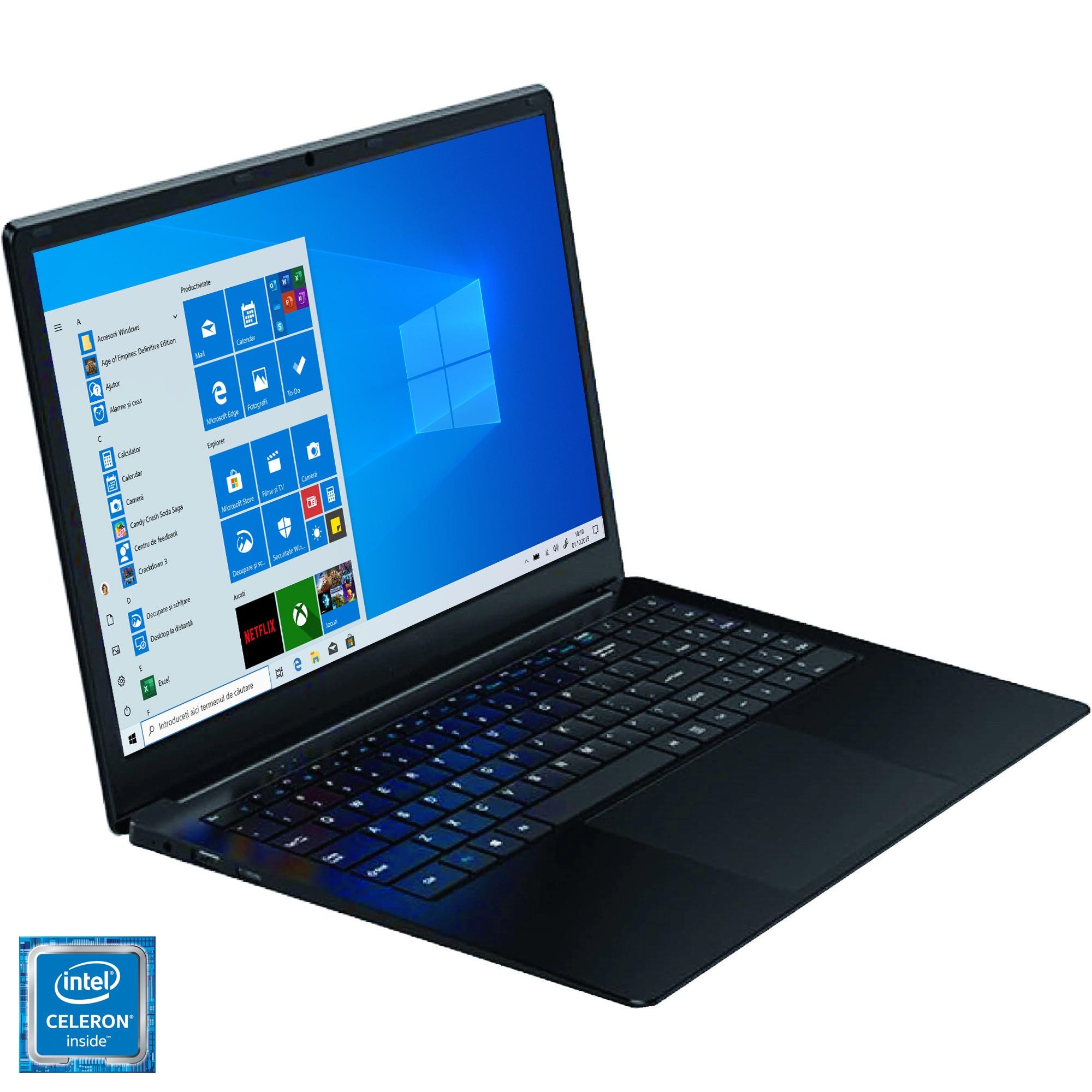 "Fotografie Laptop Weigo 156H cu procesor Intel® Celeron® N4100 pana la 2.40 GHz, 15.6"", Full HD, 8GB, 128GB SSD + 64GB eMMC, Intel UHD Graphics 600, Windows 10 Pro, Black"