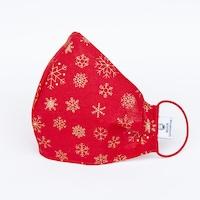 3 rétegű mosható textil karácsonyi maszk G3 szűrővel - Piros hópihe- S (gyerek) méret