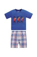 JoJo Maman Bebe, Къса пижама с овално деколте, Син, 116 CM Standard