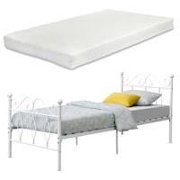 [en.casa]® Fémkeretes ágy Apolda 90 x 200 cm porszórt (szinterezett) acél váz fehér, matt dekoratív fej-és lábrész egyszemélyes ágy hideghabos matraccal