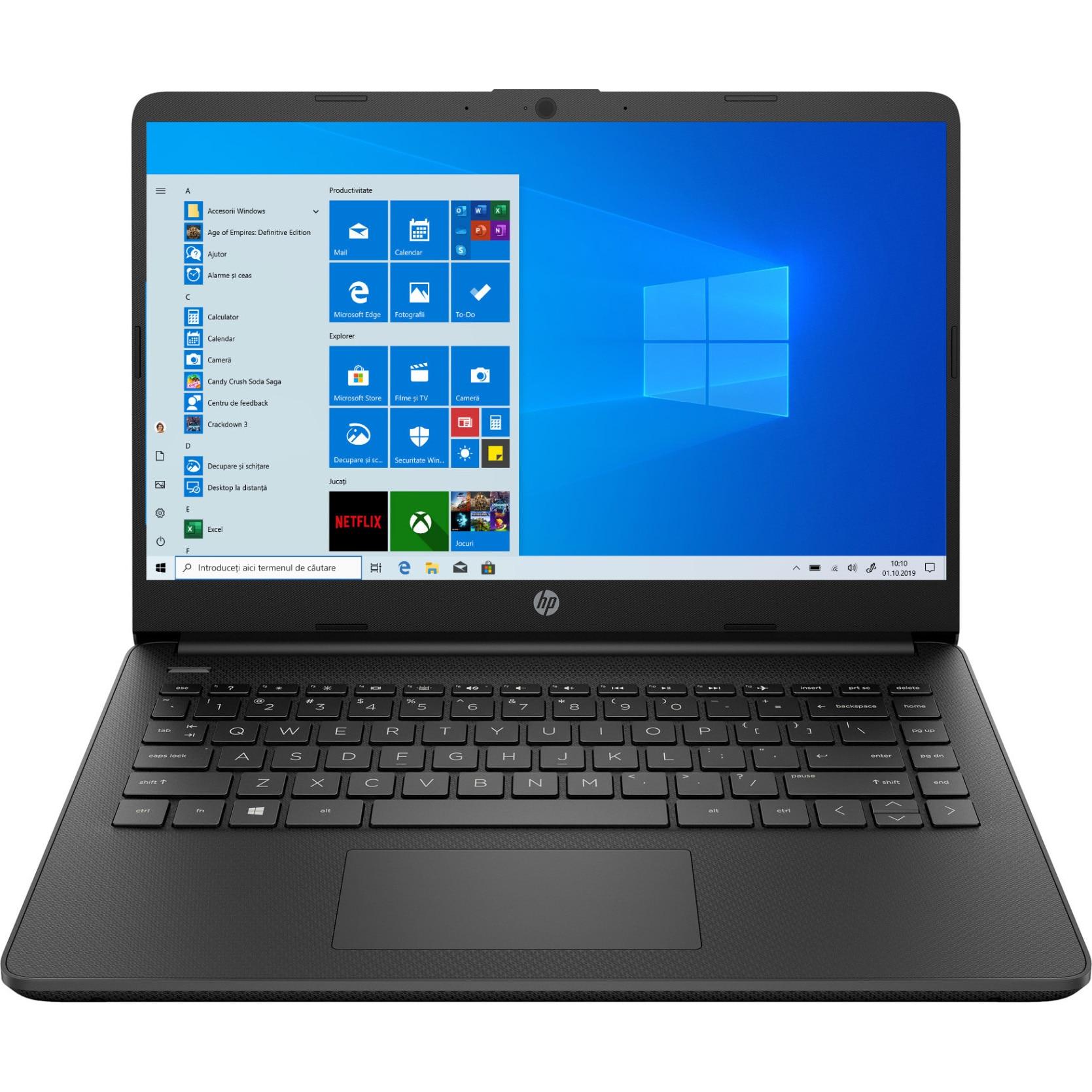 "Fotografie Laptop ultraportabil HP 14s-fq0710nd cu procesor AMD Athlon™ 3020e pana la 2.60 GHz, 14"", Full HD, 4GB, 64GB eMMC, AMD Radeon™ Graphics, Windows 10 Home S, Black"
