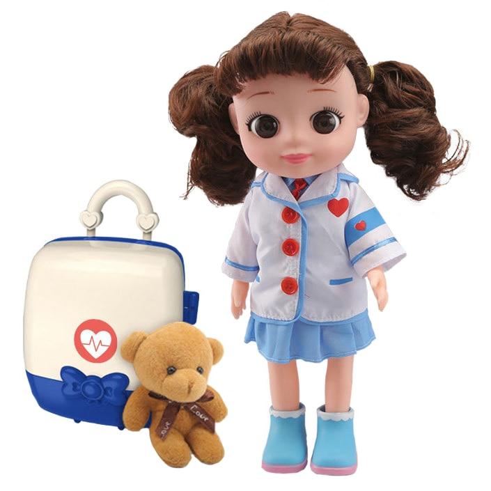 Fotografie Set papusa M-Toys Mia cu functii, ursulet plus si accesorii doctor, 35 cm