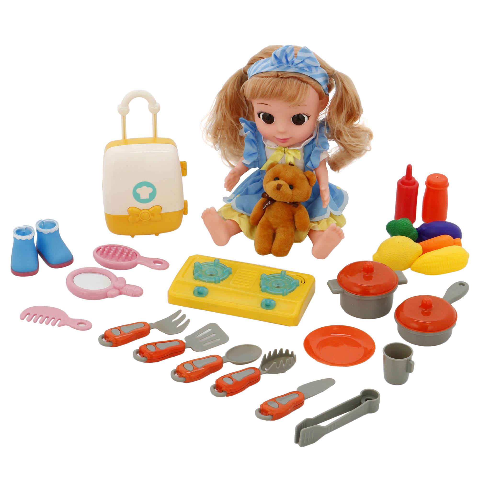 Fotografie Set papusa M-Toys Sara cu functii, ursulet plus si accesorii bucatar, 35 cm
