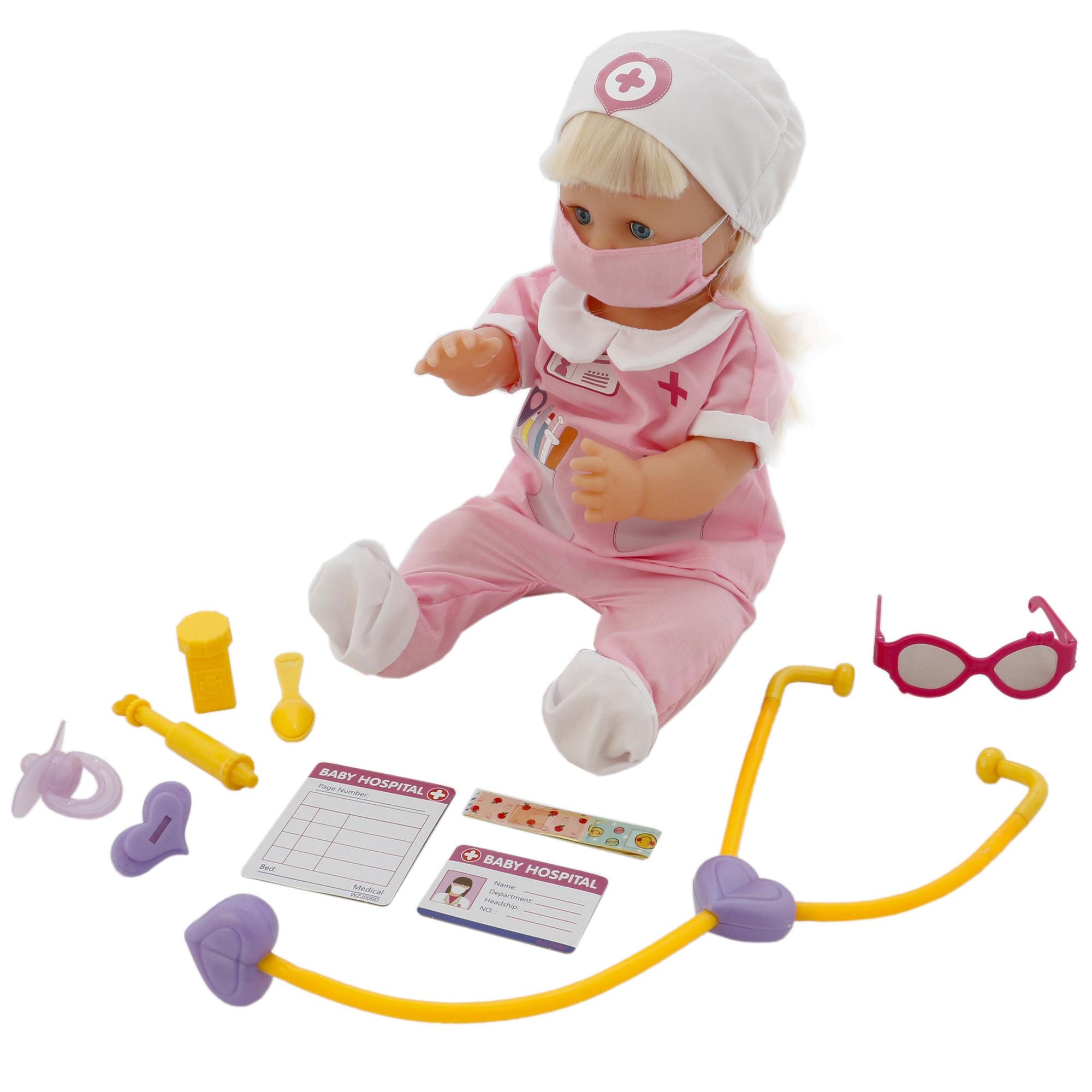 Fotografie Papusa M-Toys Sara cu functii si accesorii doctor, 40 cm