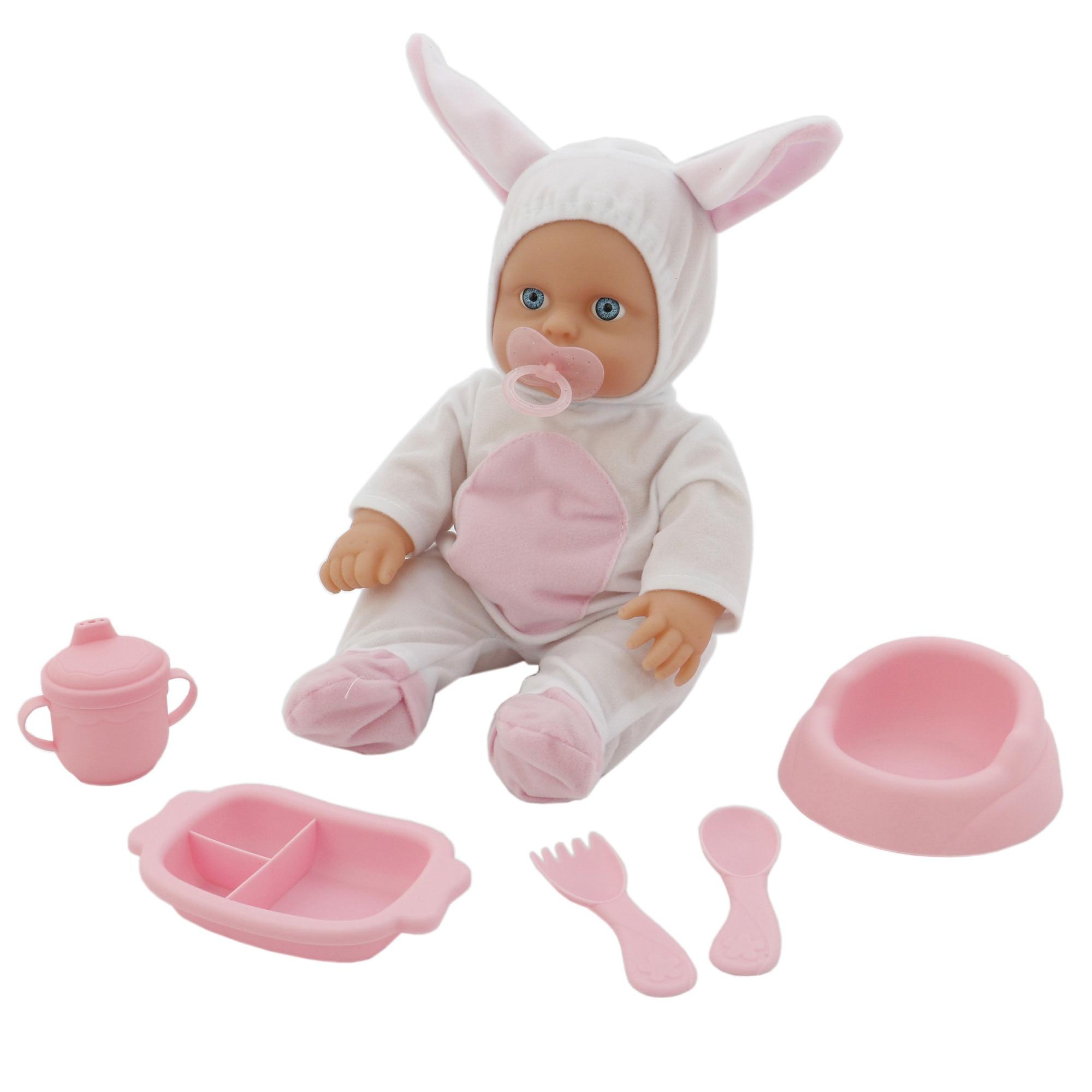Fotografie Set papusa bebelus M-Toys cu accesorii, alb/roz, 30 cm