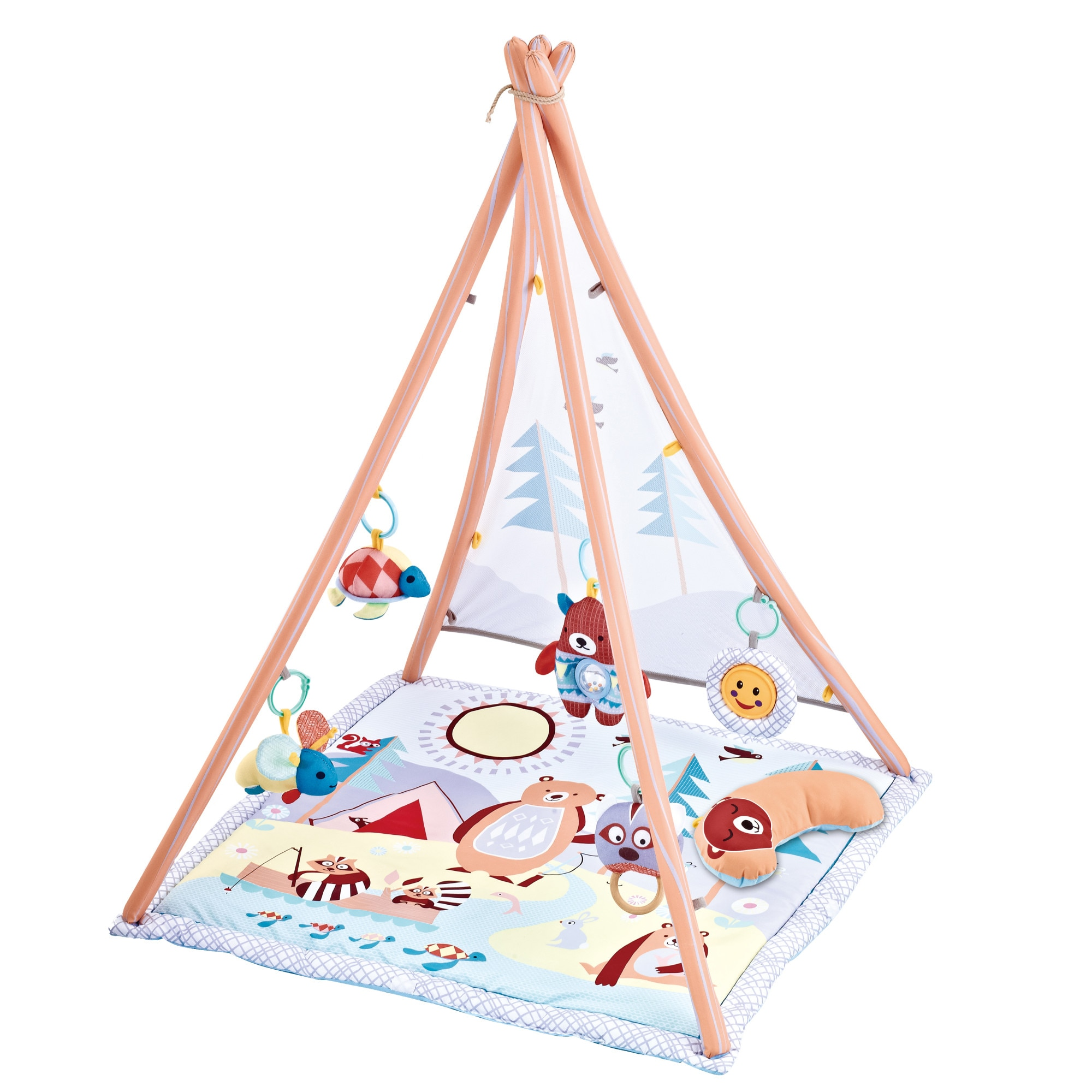 Fotografie Saltea de joaca M-Toys - cort cu 20 mingi si 6 jucarii, roz