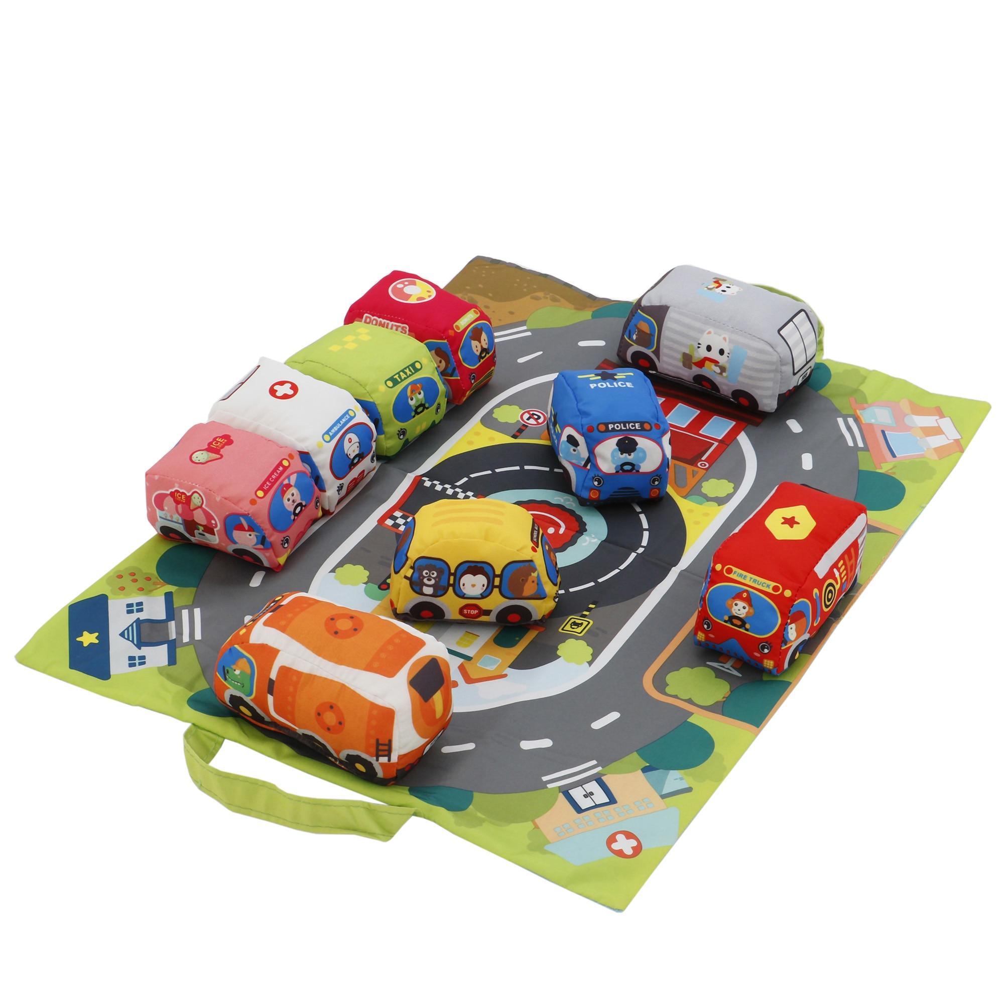 Fotografie Set M-Toys covor de joaca si masinute din material textil, 9 piese