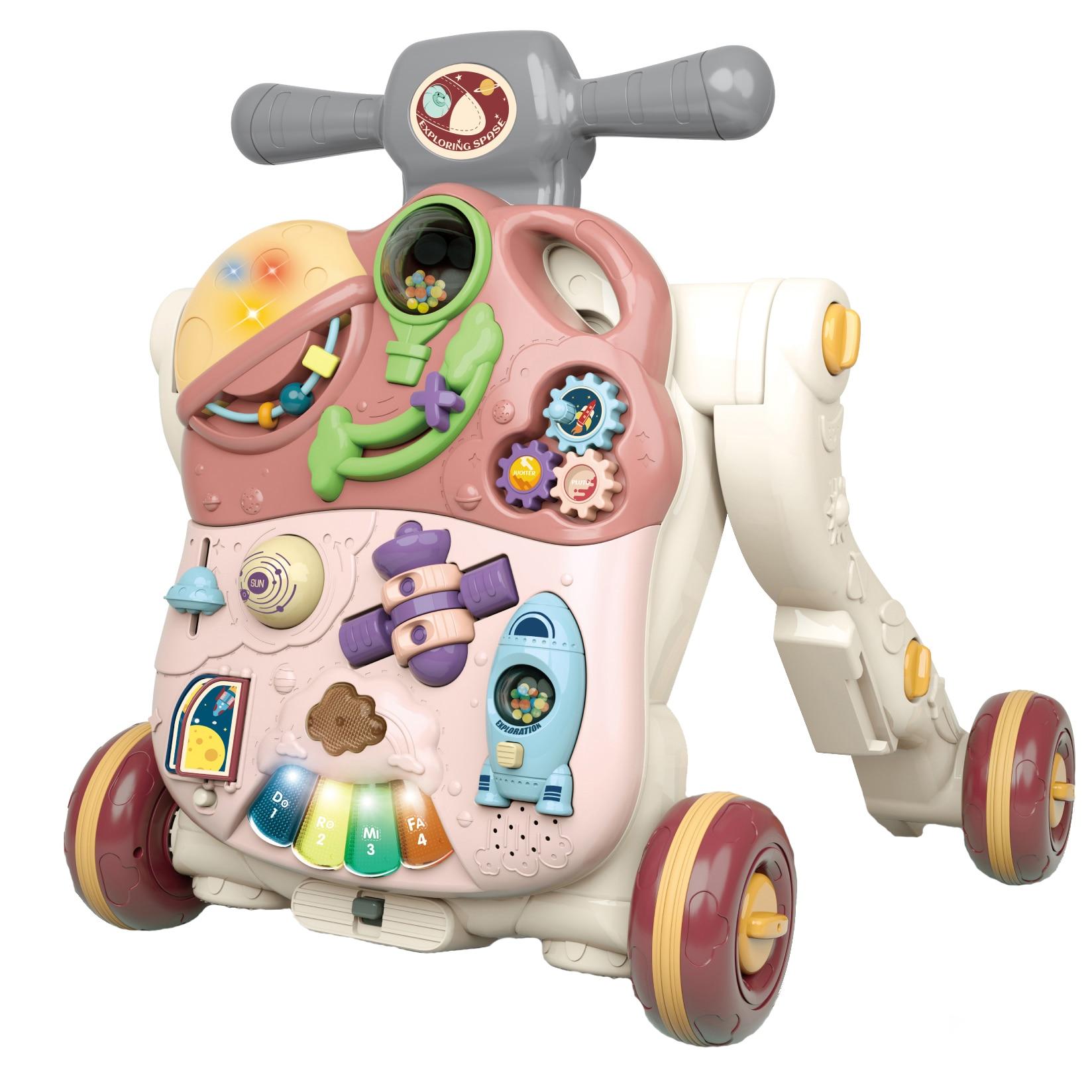 Fotografie Antepremergator M-Toys 3 in 1, convertibil, cu lumini si sunete, roz