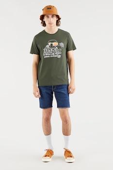 Levi's, Kerek nyakú mintás póló, Katonai zöld/Törtfehér