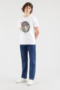 Levi's, Kerek nyakú logós póló, fehér/zöld/korallszín