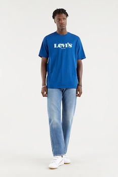 Levi's, Mintás póló hímzett részlettel, Kék/Fehér