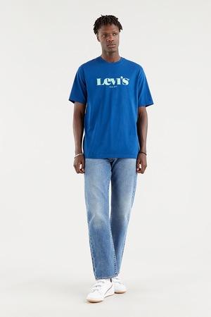 Levi's, Kerek nyakú logós pamutpóló, Kék/Fehér