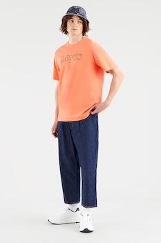 Levi's, Mintás póló hímzett részlettel, Narancssárga/Tengerészkék