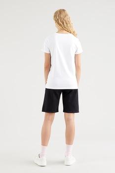 Levi's, Kerek nyakú logós póló, fehér/korallszín/halványzöld