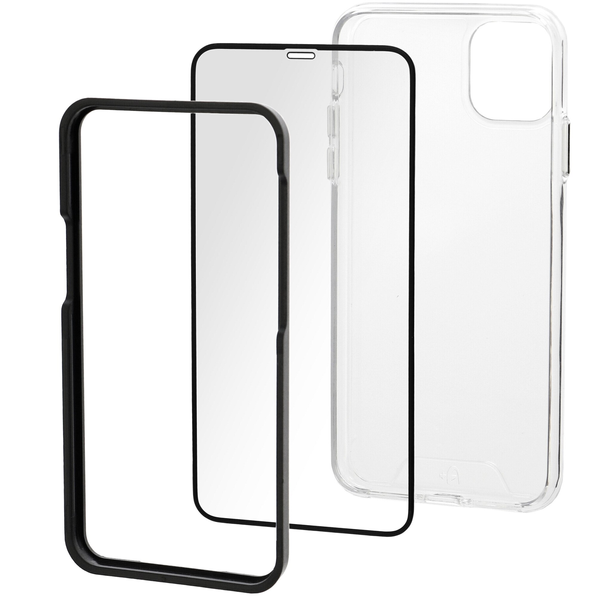 Fotografie Set Folie de protectie A+ Tempered Glass 3D/ Husa transparenta silicon A+ pentru iPhone 12 mini 5.4''