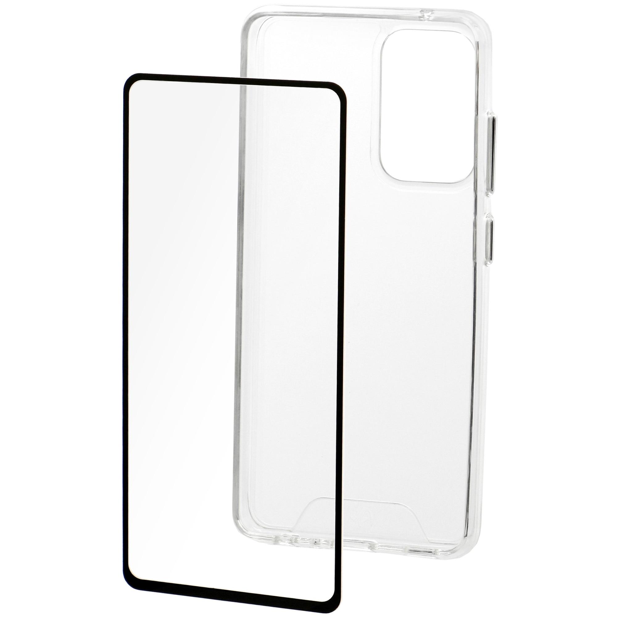 Fotografie Set Folie de protectie A+ Tempered Glass 2.5D/ Husa transparenta silicon A+ pentru Samsung A72 5G