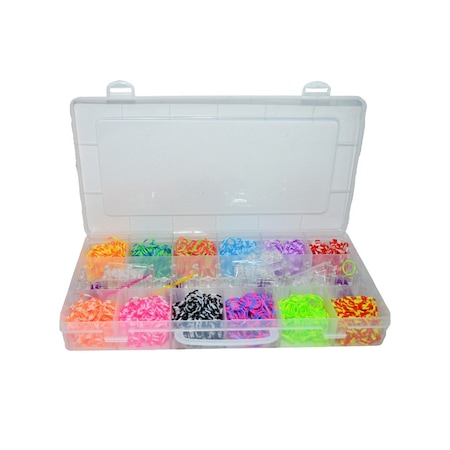 Kreatív készlet kiegészítőkkel rugalmas karkötők készítéséhez, 2400 darab, többszínű, Robentoys®
